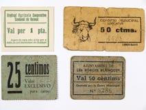 Buoni catalani e biglietti monetari Guerra civile spagnola fotografia stock libera da diritti