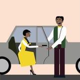 Buoni modi apra la porta per la donna nell'automobile etiquette Donna elegante illustrazione vettoriale
