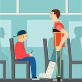 Buoni modi l'uomo sul bus conduce agli handicappati etiquette Uomo sulle grucce illustrazione vettoriale