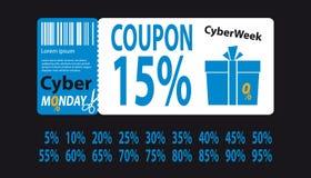 Buono cyber di lunedì con le percentuali da 5 a 95 - illustrazione blu di vettore - isolato su fondo nero illustrazione vettoriale