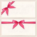 Buono del regalo/modello del buono con l'arco (nastri) Fotografie Stock