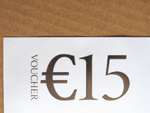 Buono di 15 EUR Fotografia Stock