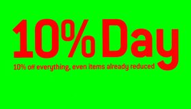 buono offerta Vendita modifica 10% fuori Vendita dentellare e gialla Immagine Stock