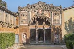 Buontalenti Grotto in Boboli Gardens, Florence, Italy. Unusual entrance to the Grotto of Buontalenti in Boboli Gardens, Florence, Italy stock images