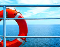 Buoy. Red buoy on ship with blue sea and sky stock images