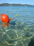 Buoy 2. Orange Buoy on the mediterranean stock photos