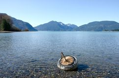 Buoy anchor made of an old tire. Green Point, Sasquatch Provincial Park, British Columbia Stock Photo