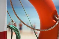 Buoy on the beach. Safe object royalty free stock image