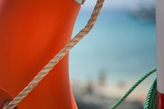 Buoy on the beach. Safe object royalty free stock photography