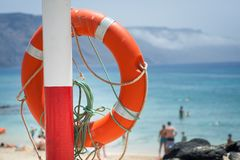 Buoy on the beach. Safe object royalty free stock photo