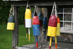 Buoy decorations. Hanging lobster buoys Royalty Free Stock Photography