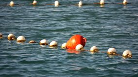 Buoy and Fishnet on Sea Water. Video stock footage