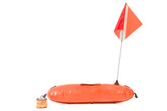 Buoy and the flag with the symbol diving. Royalty Free Stock Photos