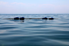 Buoy Floats. Rope barrier on the water. Lake Erie, Crystall Beach, Ontario Stock Image