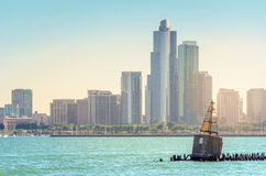 The Buoy in Lake Michigan. Old concrete buoy on breakwater in Chicago Royalty Free Stock Image