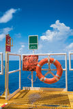 Buoy with life line and ESD emergency shutdown station at the escape way. Offshore oil and gas wellhead remote platform safety equipment, Buoy with life line and Stock Images