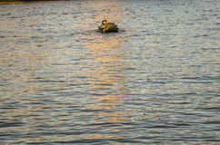 Buoy for mooring ships in the middle of the river Stock Photo
