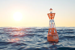 Buoy in the open sea on the sunset background. 3d render Stock Images