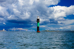 Buoy. Oresundsbron. Oresund bridge link Denmark Sweden Baltic Sea. Royalty Free Stock Photos