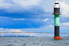Buoy. Oresundsbron. Oresund bridge link Denmark Sweden Baltic Sea. Royalty Free Stock Photography