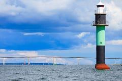 Buoy. Oresundsbron. Oresund bridge link Denmark Sweden Baltic Sea. Buoy and Oresundsbron. The Oresund bridge link between Denmark and Sweden in Europe, Baltic Royalty Free Stock Photography