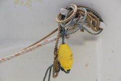 Buoy and ropes on a boat Stock Photography