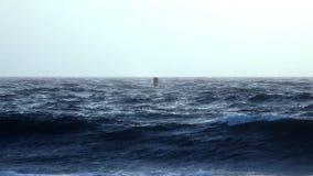Buoy in Rough Ocean Seas stock video