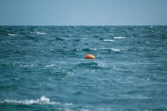Buoy floats in the sea. The buoy swings on waves in the sea Royalty Free Stock Photography