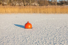 Buoy trapped in the frozen lake Stock Photography