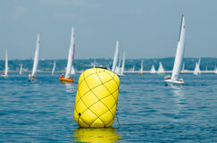 Buoy at yacht regatta Stock Photos