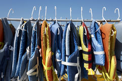 Buoyancy jackets. On a rail, used when hiring a jet ski captiva island, Florida America united states taken in march 2006 Royalty Free Stock Photography
