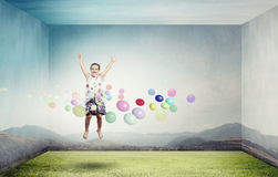 Buoyant and happy Royalty Free Stock Images