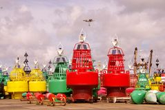 Buoys. Yellow, green and red buoys at a maintenance place Stock Photo