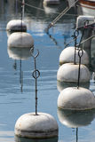 Buoys for boat mooring Royalty Free Stock Images
