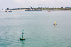 Buoys and Channel Markers in Venice Canal Royalty Free Stock Images
