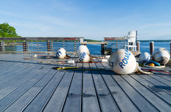 Buoys on a deck at Northport Maine Stock Photos