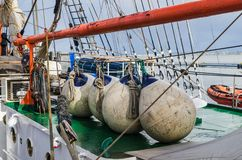 Buoys on the deck of a sailboat, close-up stock photo