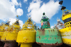 Buoys at dry Stock Image