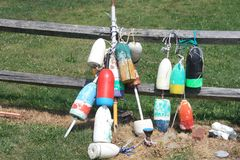 Buoys on fence Royalty Free Stock Photography