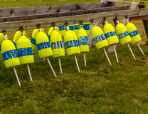 Buoys hanging between sawhorses Royalty Free Stock Photos
