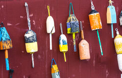 Buoys hanging on wall Royalty Free Stock Photos
