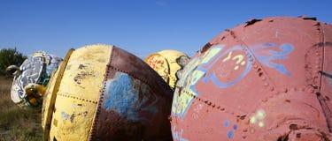 Buoys on land 02 stock photo