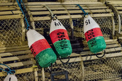 Buoys on Lobster Trap Stock Photo
