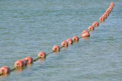Buoys row floating. Row of bouys floating on the sea. Vacation concept Royalty Free Stock Images