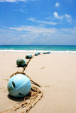 Buoys at sand beach, Samed island,Thailand Stock Image