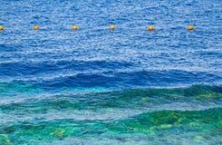 Buoys on the sea. Egypt. Shallow depth of field. Toned Stock Photo