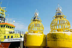 Buoys for the sea at Terschelling Royalty Free Stock Photography