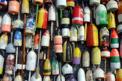 Buoys on the side of a beach shack Stock Image