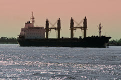 Buque de carga del carguero de graneles en el río Misisipi Fotografía de archivo libre de regalías