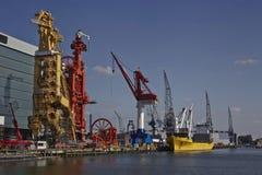 Buque de carga en el puerto de Rotterdam Imagen de archivo libre de regalías